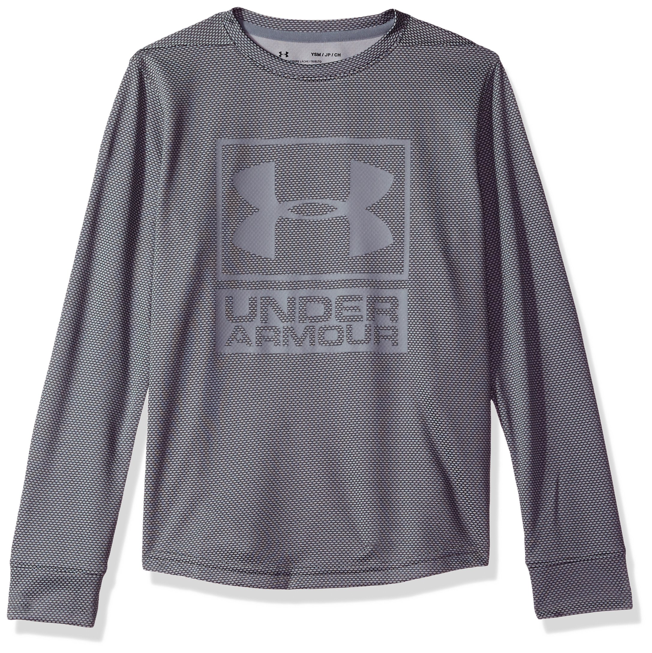 Under Armour Boys' Tech Textured Crew,Graphite /Steel, Youth Medium by Under Armour
