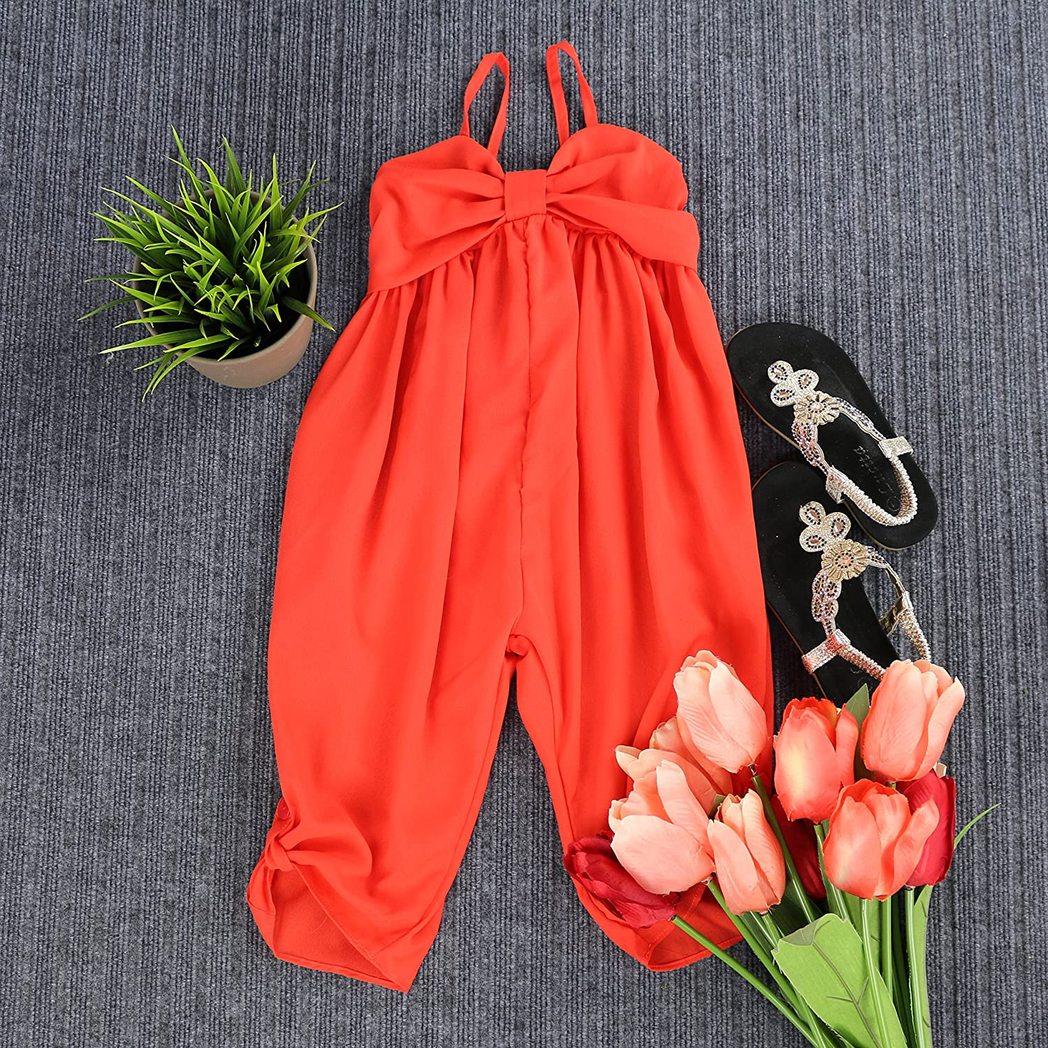 2T-7//8 Toddlers and Girls LELEFORKIDS Airy and Sheer-Chiffon Matilda Jumpsuit Lightweight