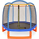 Best Choice Products 7FT Kids Outdoor Mini Trampoline w/Enclosure Safety Net Pad
