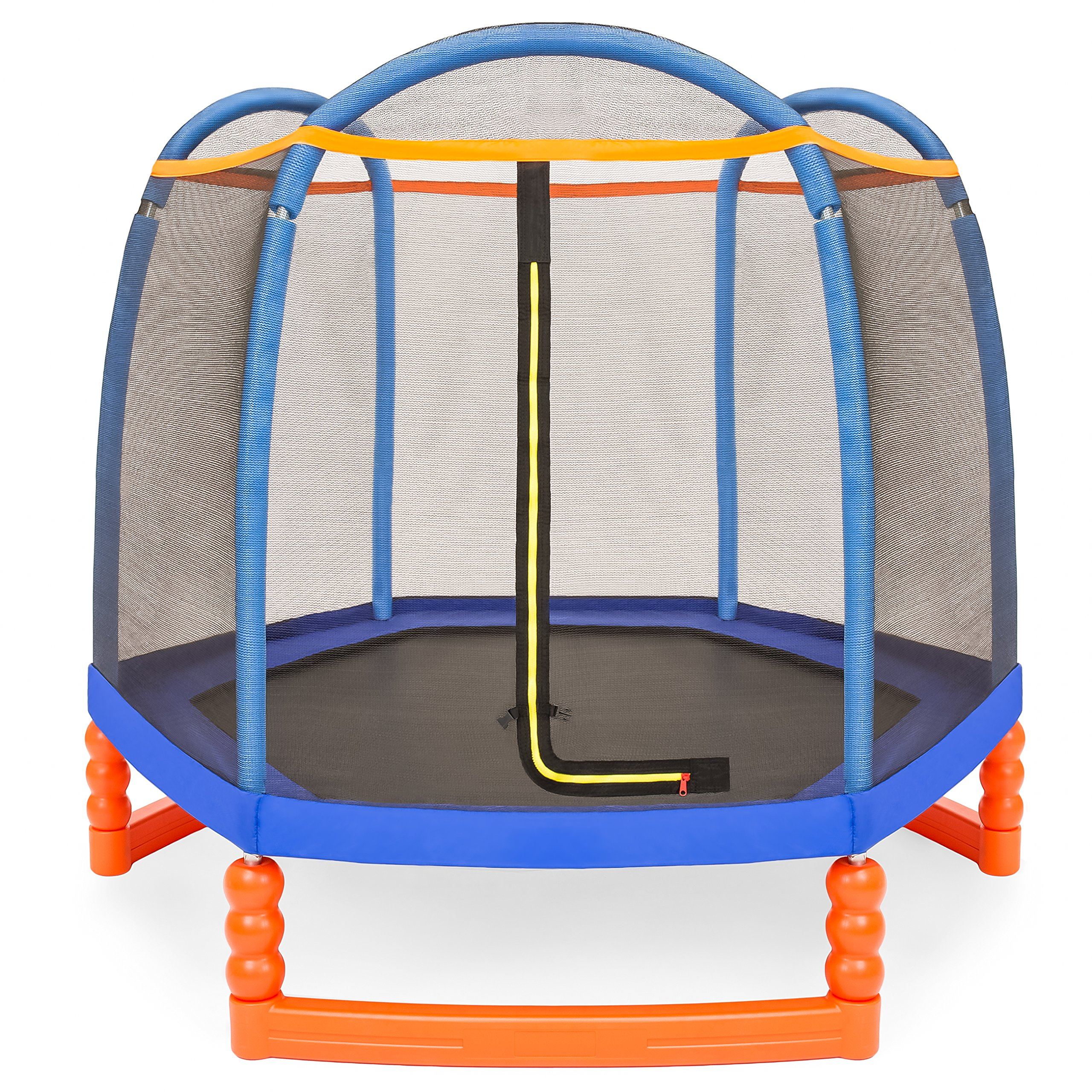 Best Choice Products 7ft Kids Round Mini Trampoline for Indoor & Outdoor Use w/Safety Net Enclosure, Padding, Zipper by Best Choice Products