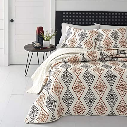 3 Piece Burnt Orange Grey Off White Aztec Southwest Theme Quilt King Set,  Beautiful Vertical