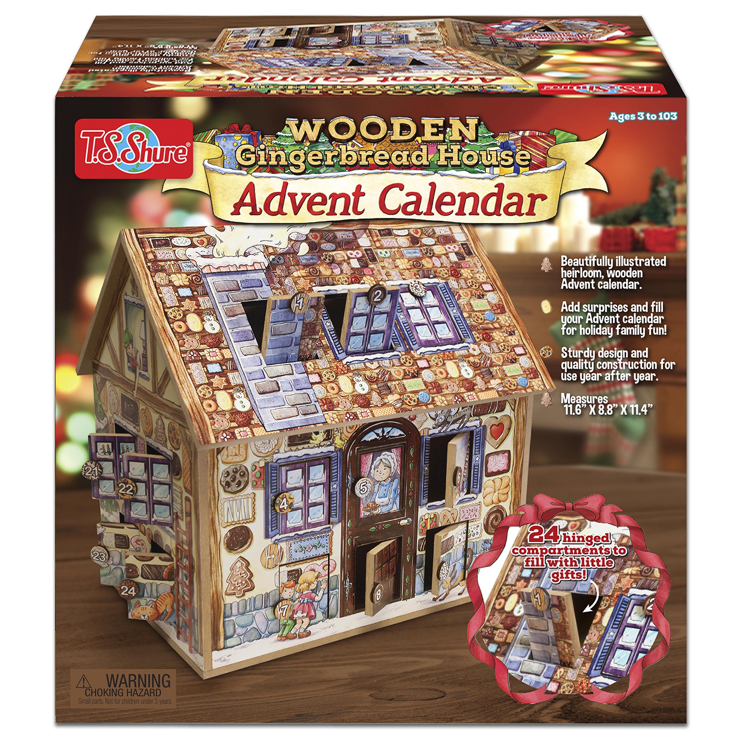 T.S. Shure Wooden Gingerbread House Advent Calendar