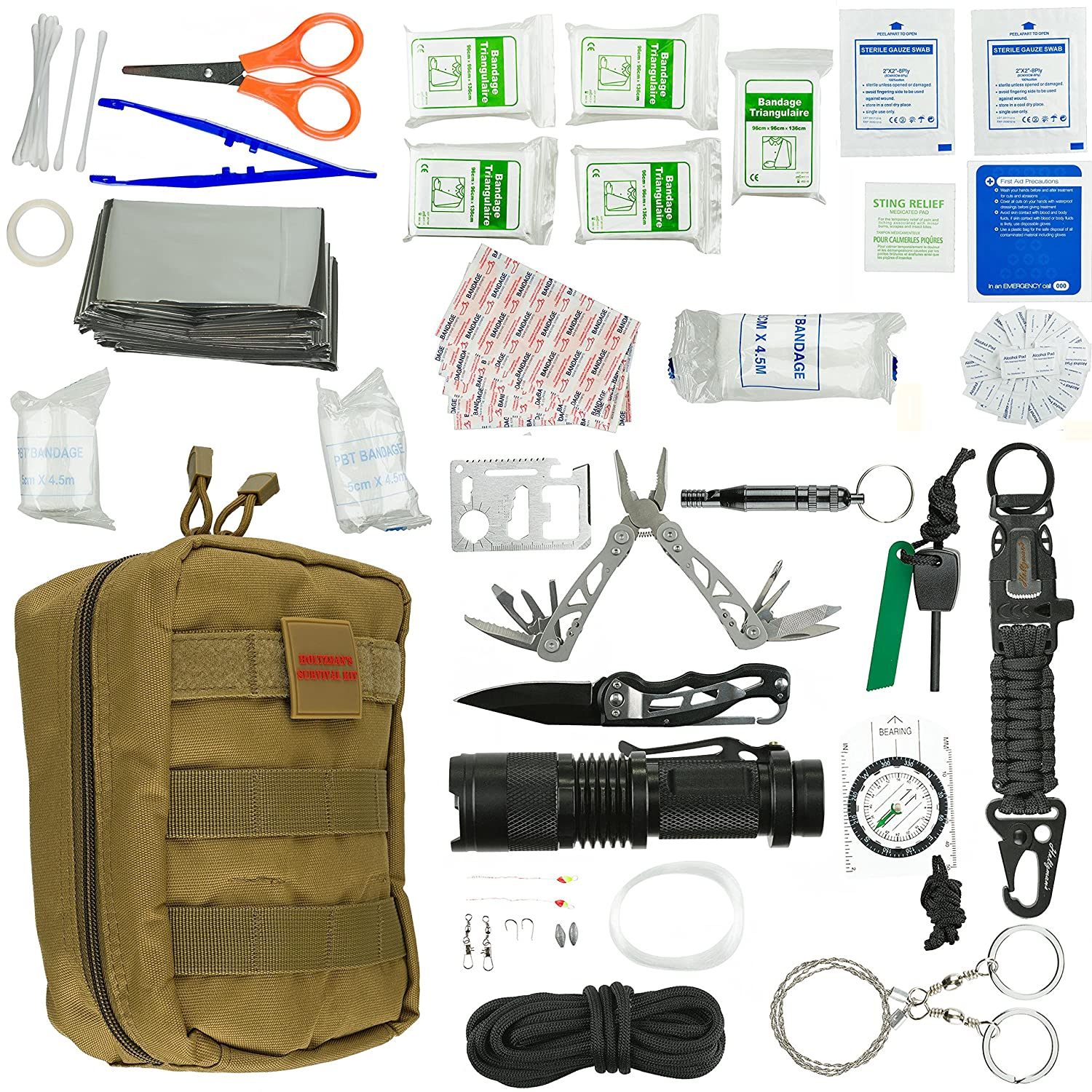 Emergency Survival Kit Ultimate 98-in-1 Outdoor Multi-Tools for Camping, Hiking, Hunting Fishing First Aid Supplies All Inclusive Survival Gear with Box for Campers Preppers