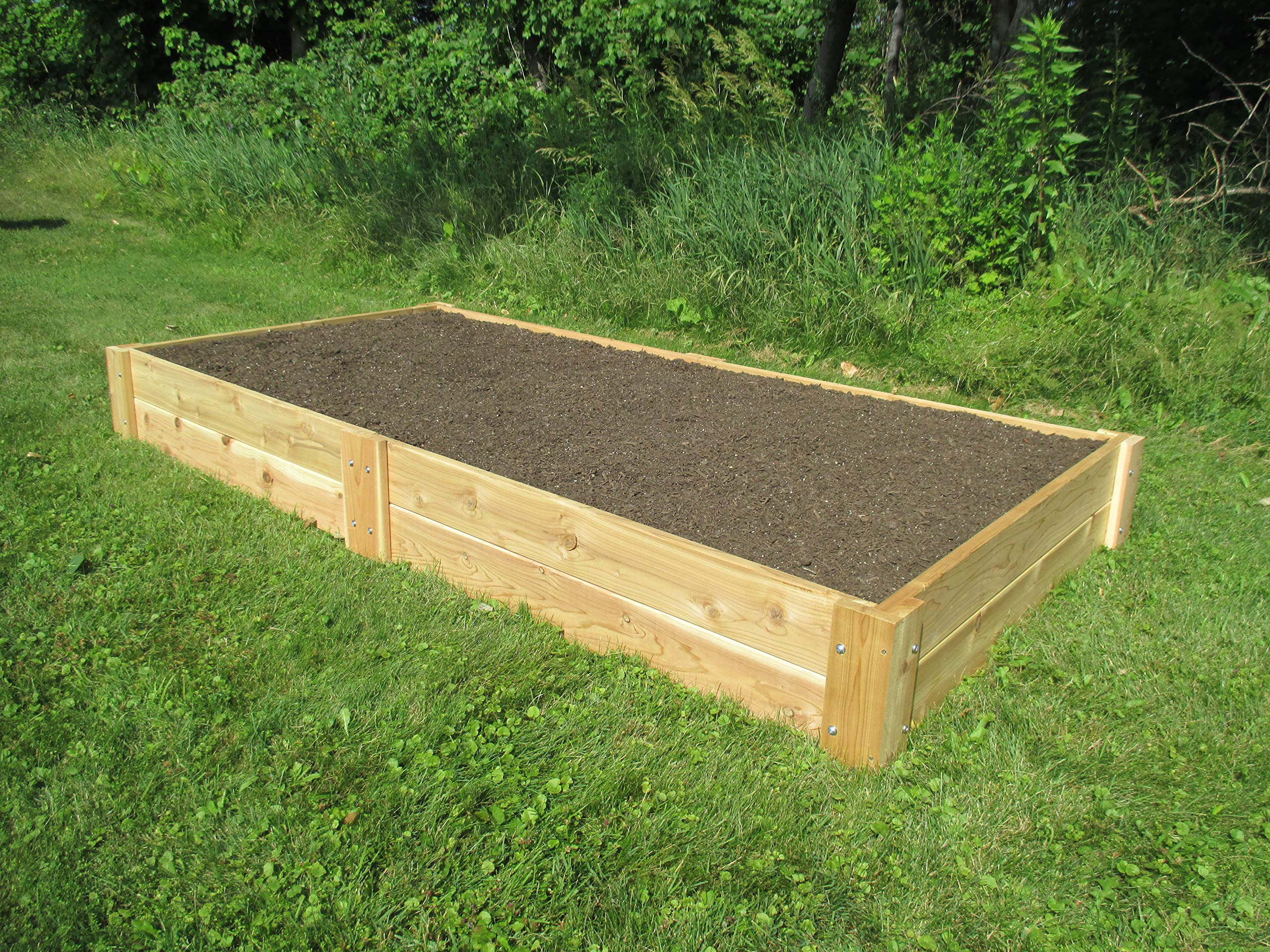 Infinite Cedar Raised Bed Garden Kit 4'x8'x11 2 Long-lasting raised garden beds made from rot resistant thick Western Red Cedar Boards Easy Assembly –Assembles in minutes and can be easily disassembled as needed. Strong, Quality build – 1″ thick premium quality deck boards combined with strong joint design will not bow under the weight of wet soil and will last for years.