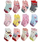 Deluxe Anti Slip Non Skid Crew Dress Socks With Grips For Baby Toddler Kids Girls (3-5 Years, 12 designs/RG-72627)