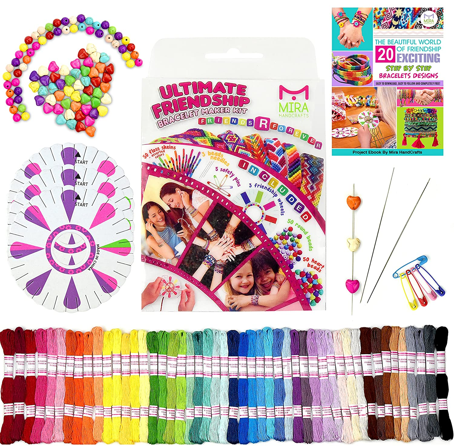 Premium Friendship Bracelet Maker - Large 161 Piece Bracelet/Jewelry Making Kit - Best Birthday/Christmas Gifts - 20 Bracelets Patterns E-Book DIY for Kids Miragoods