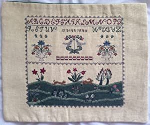 """SAMPLER Folk Art JACQUARD WOVEN TAPESTRY Wall Hanging or Table Decoration (12"""" Wide)"""