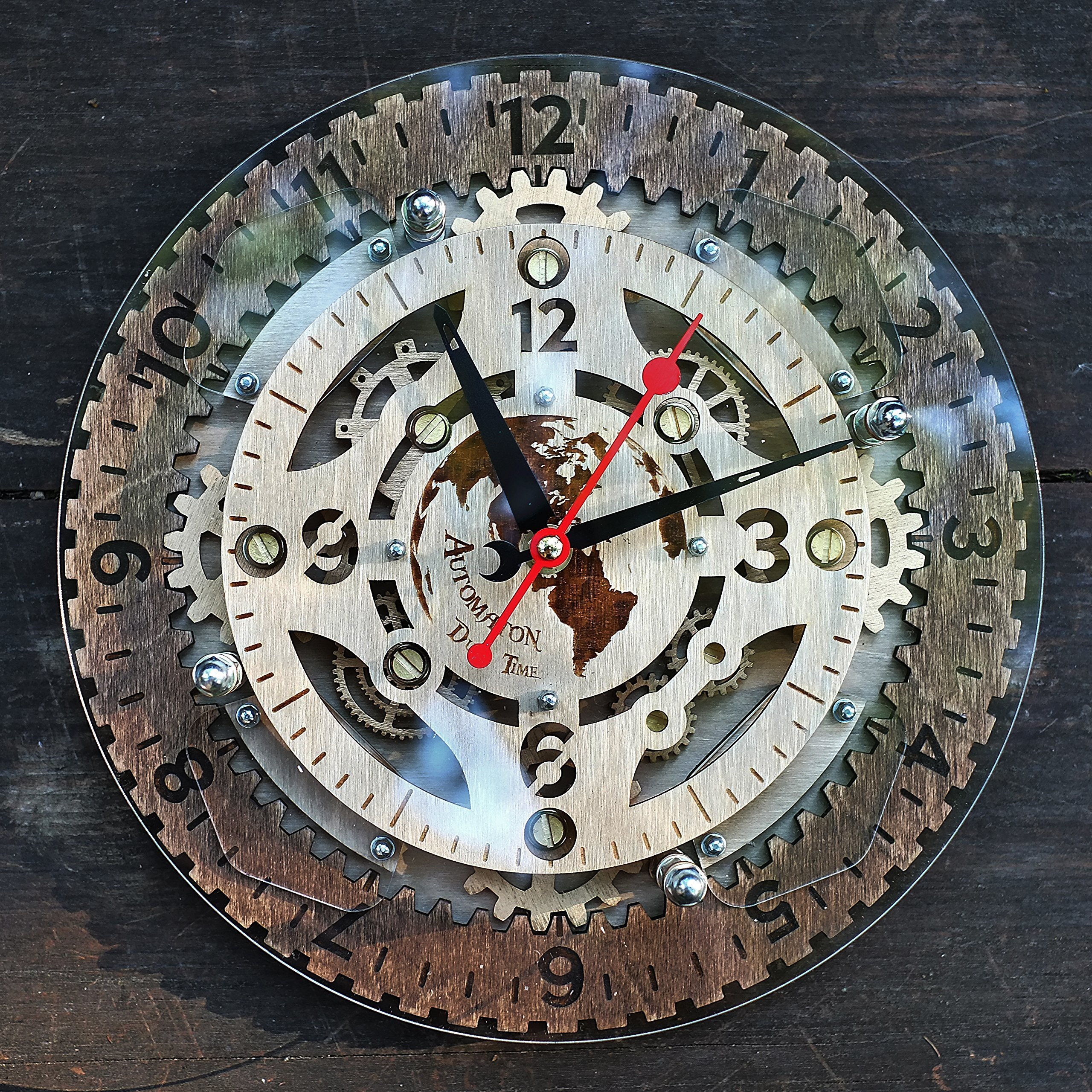 Automaton Dual Time unique industrial wooden wall clock, personalized, steampunk, one-of-a-kind, victorian, gift by WOODANDROOT