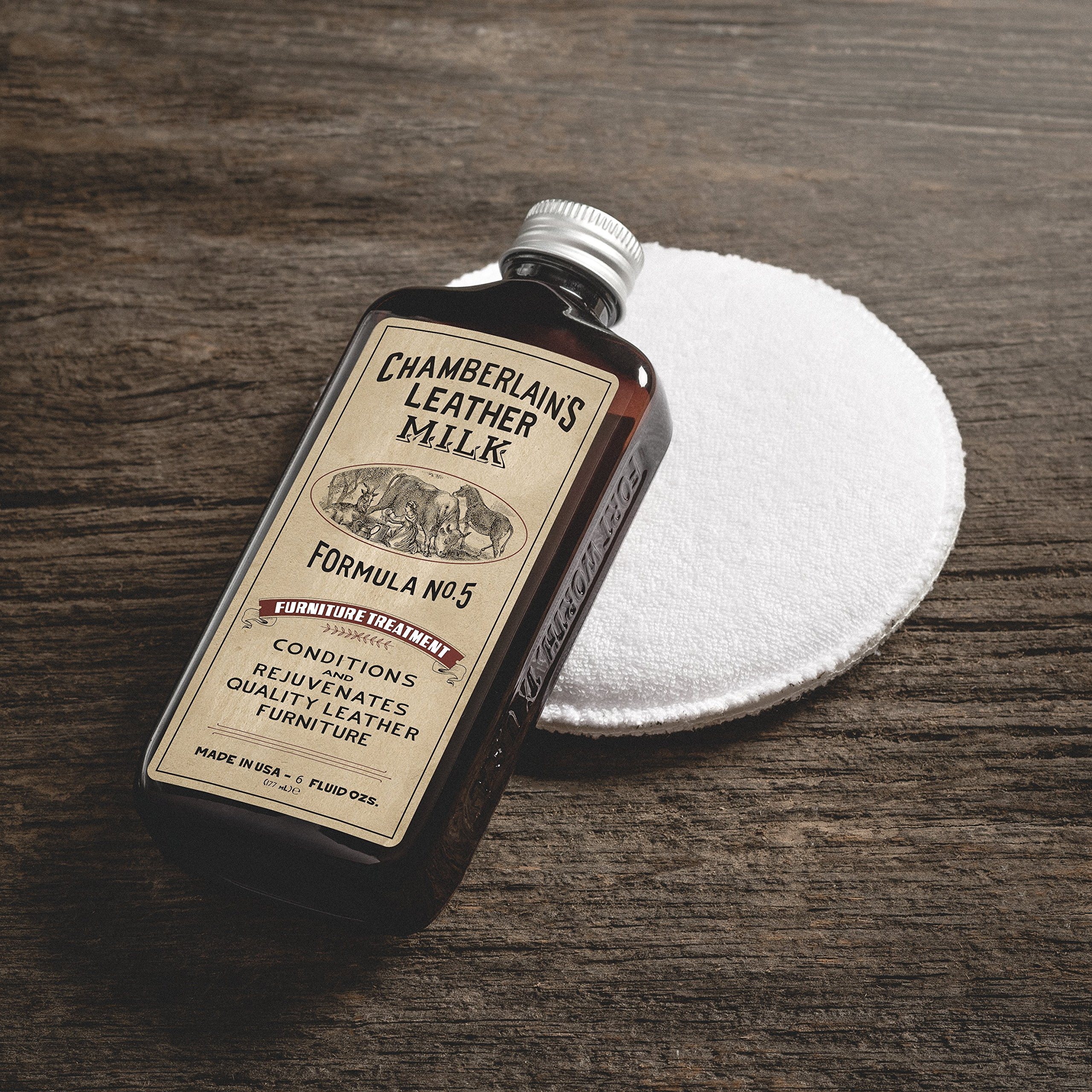 Leather Milk Leather Furniture Conditioner and Cleaner - Furniture Treatment No. 5 - For All Natural, Non-Toxic Leather Care. Made in the USA. 2 Sizes. Includes Premium Applicator Pad! by Chamberlain's Leather Milk (Image #6)