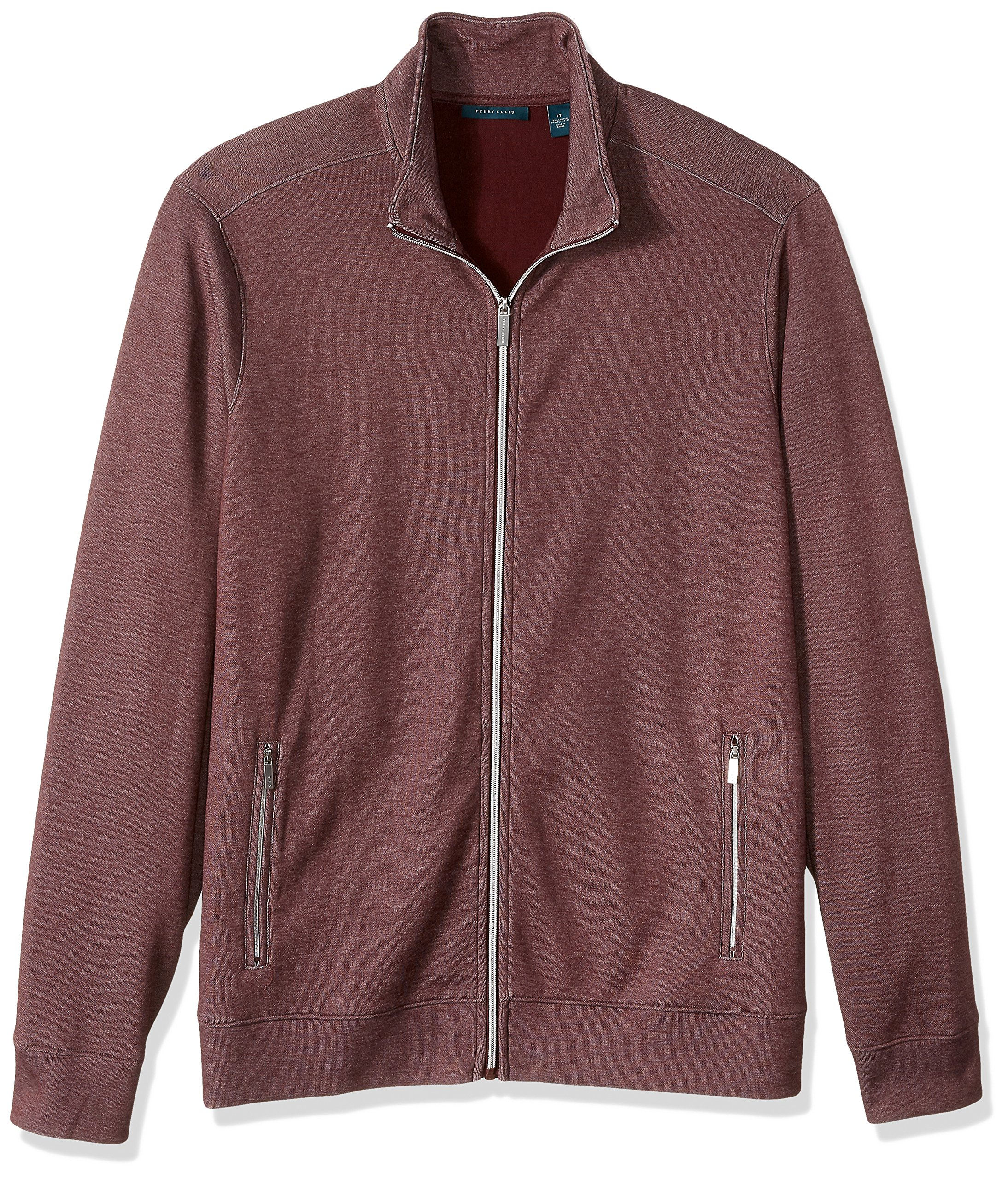 Perry Ellis Men's Solid Heathered Full Zip Knit Jacket, Port, Extra Large