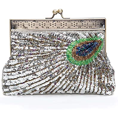 6b8c91e5287b8 Baglamor Vintage Peacock Clutch Beaded Sequin Purse Evening Handbag  Sunburst Navy and Turquoise Eye Catching - Silver: Amazon.in: Shoes &  Handbags