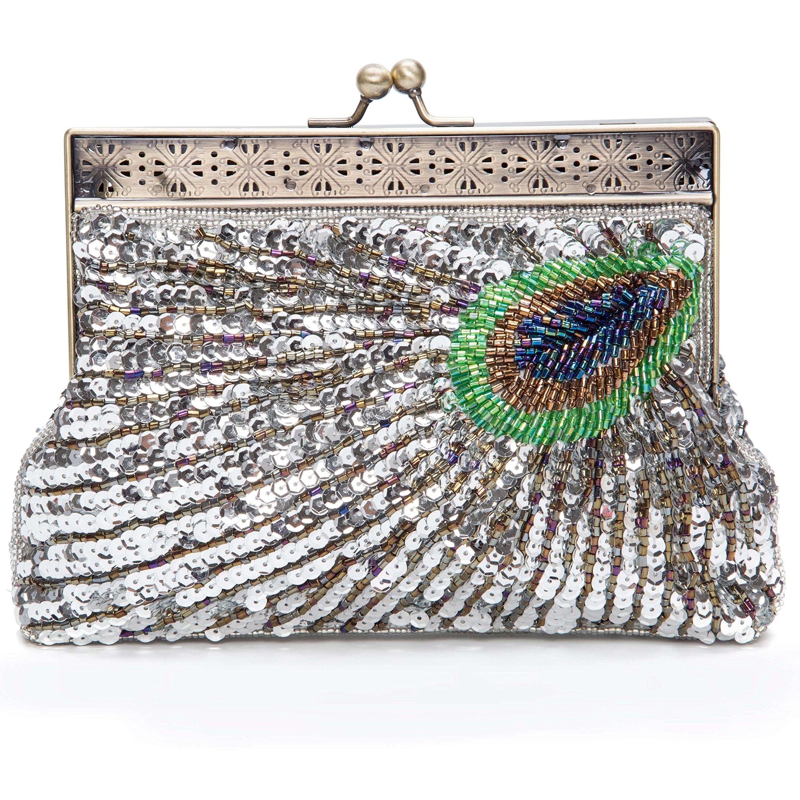 Kisschic Vintage Beaded Sequin Peacock Clutch Purse Evening Bags (Silver)