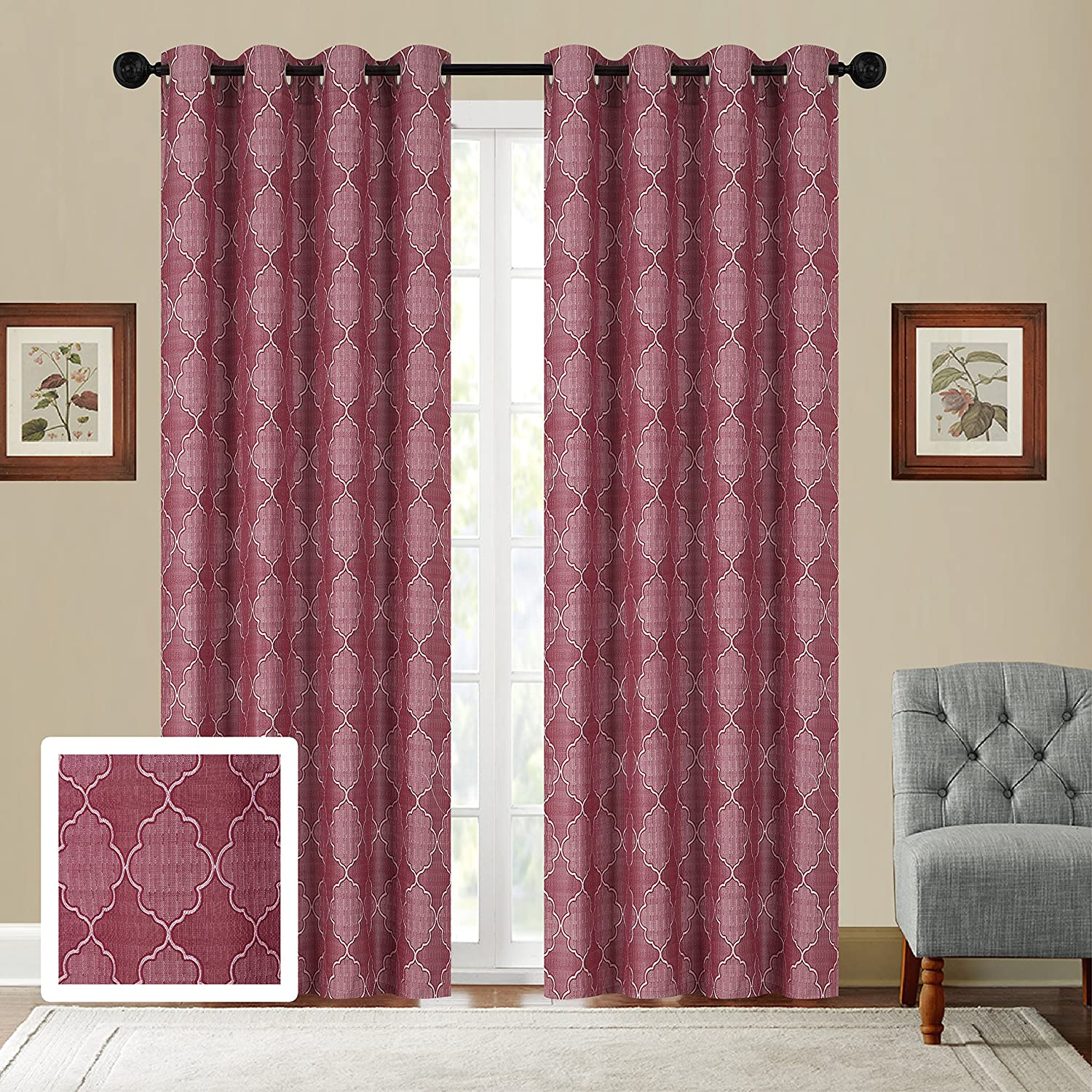 Inch- Wide X 84 -Inch Sage Green Long Package Contains Set of 2 Panels New # Arielle each Panel is 54 Fancy Collection Set of 2 Panels Curtain Embroidery Woven Jacquard Curtain,108 W X 84 L