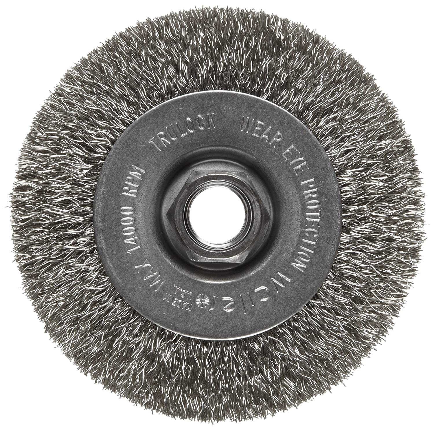 Weiler Trulock Narrow Face Wire Wheel Brush, Threaded Hole, Stainless Steel 302, Crimped Wire, 4' Diameter, 0.014' Wire Diameter, 5/8-11' Arbor, 7/8' Bristle Length, 1/2' Brush Face Width, 14000 rpm