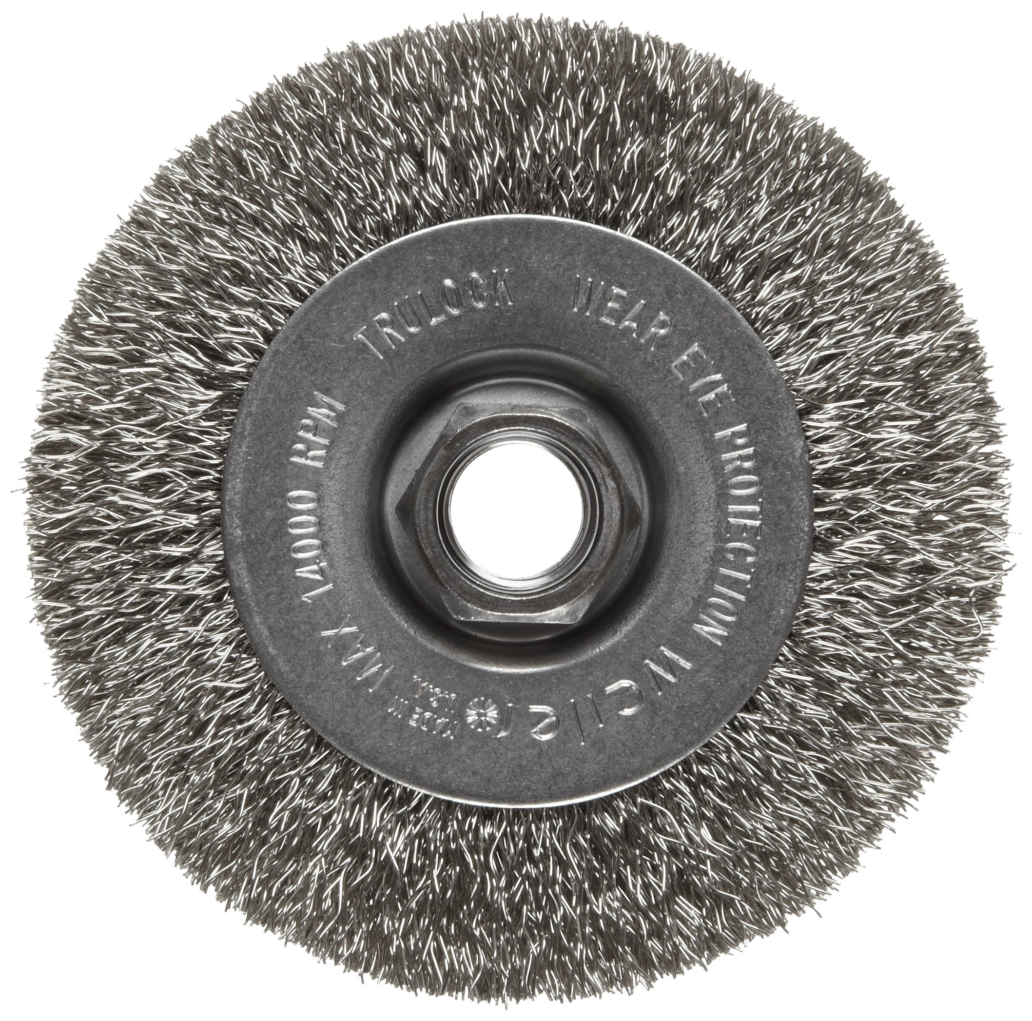 Weiler Trulock Narrow Face Wire Wheel Brush, Threaded Hole, Stainless Steel 302, Crimped Wire, 4'' Diameter, 0.014'' Wire Diameter, 5/8-11'' Arbor, 7/8'' Bristle Length, 1/2'' Brush Face Width, 14000 rpm