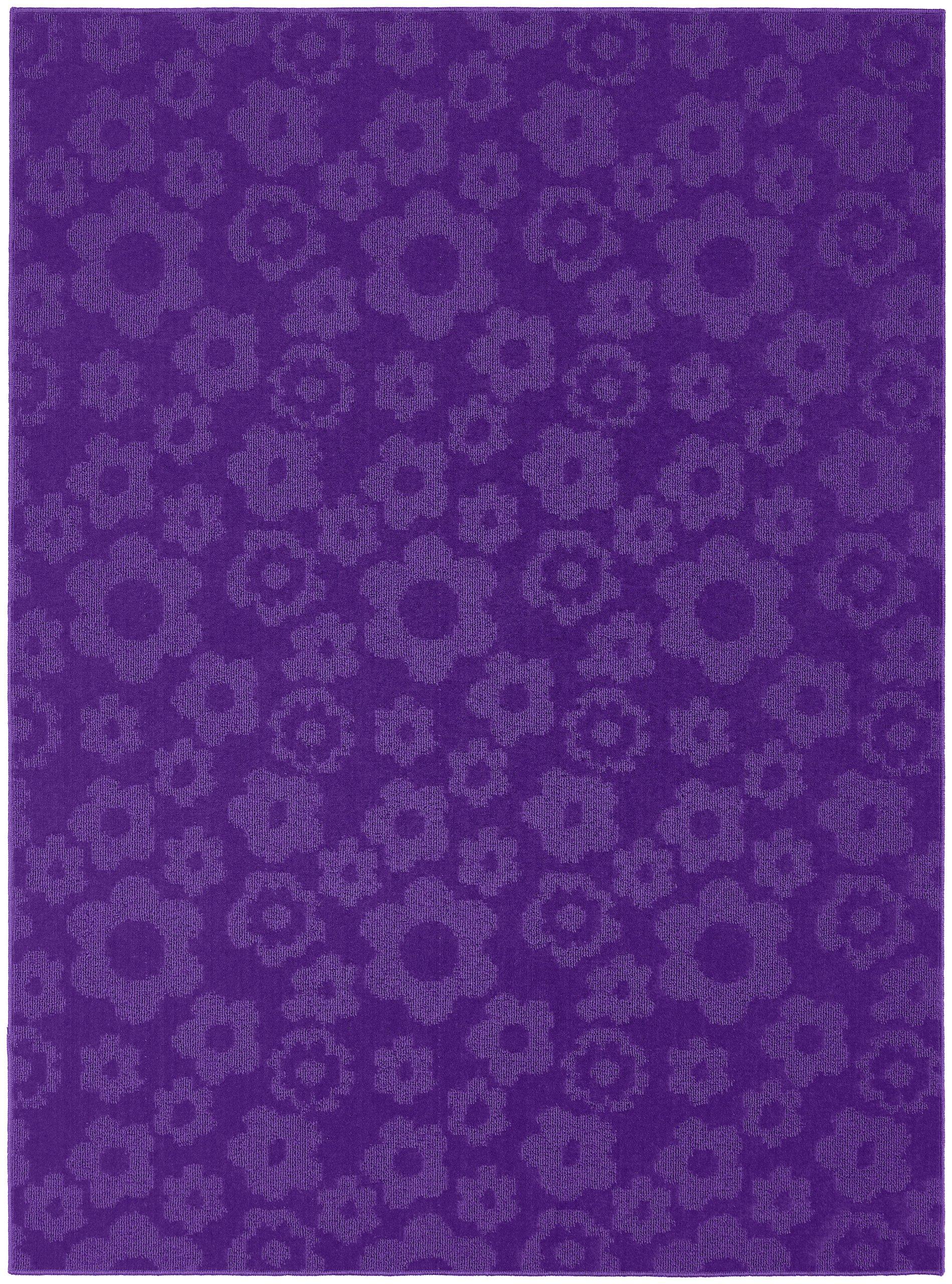 Garland Rug Flowers Area Rug, 7-Feet 6-Inch by 9-Feet 6-Inch, Purple