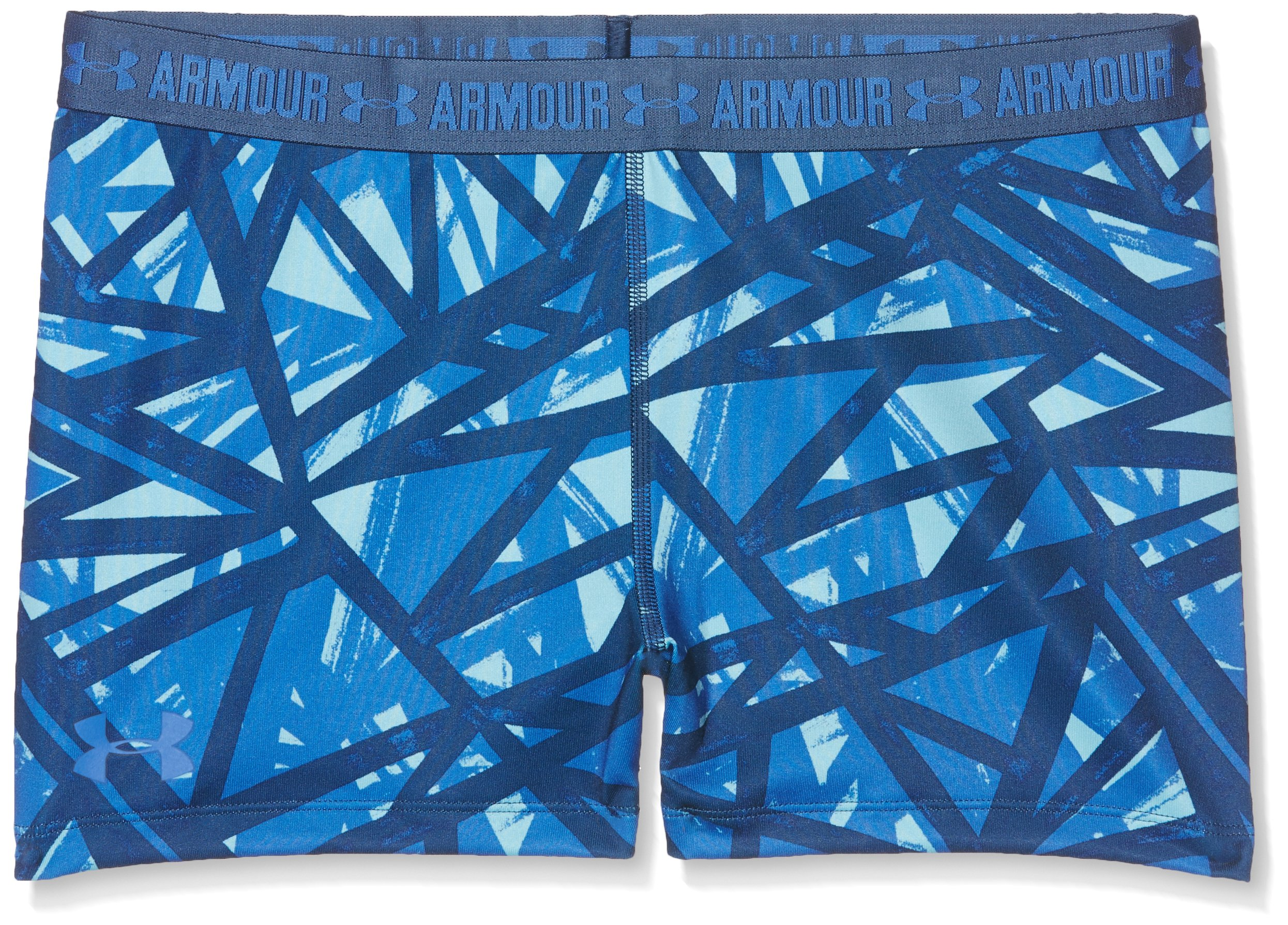 Under Armour Girls' HeatGear Armour Printed 3'' Shorty,Venetian Blue /Mediterranean, Youth X-Large by Under Armour