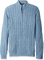IZOD Men's Big and Tall Cable Solid 1/4 Zip Sweater
