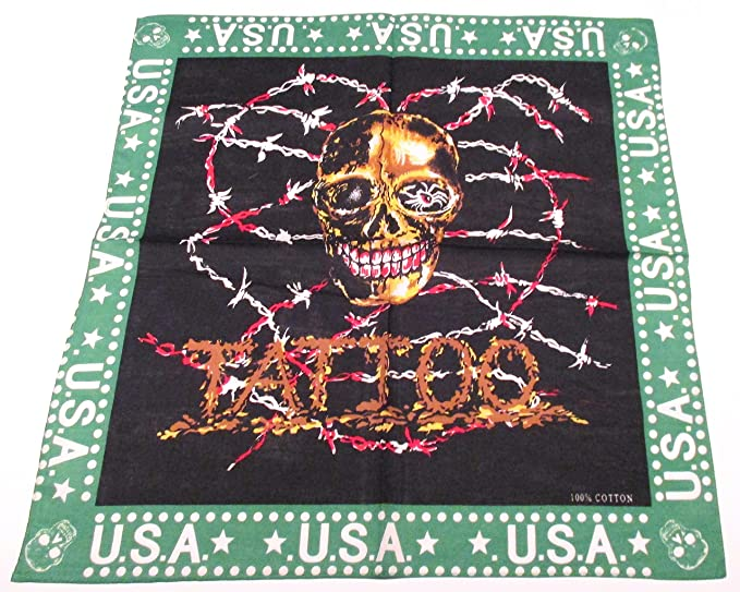 8eab374ad U.s.a. Tattoo Golden Skull in Bloody Barbed Wire Bandana: Amazon.co ...
