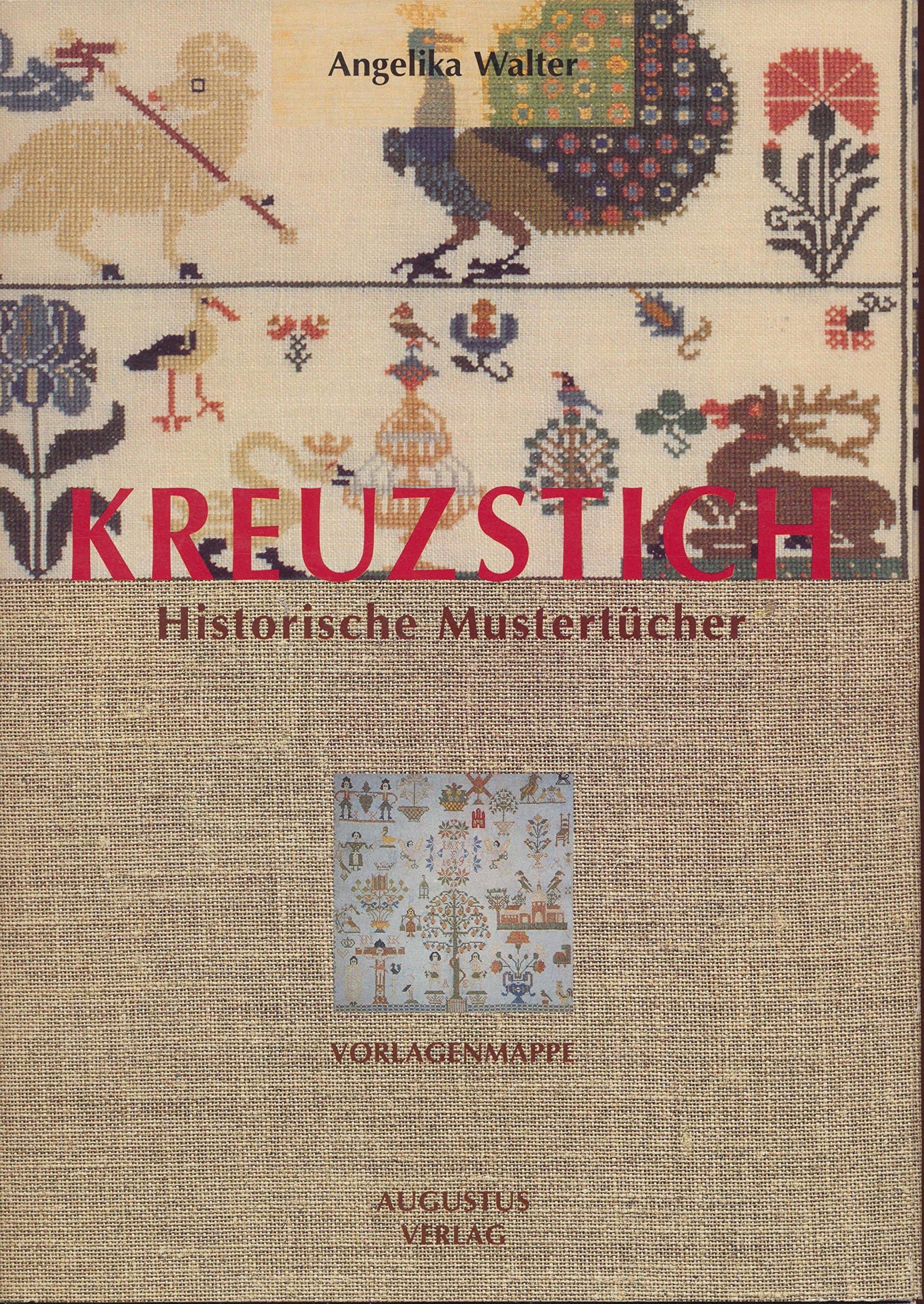 Kreuzstich Historische Mustertücher. Vorlagenmappe. Enthält 7 Vorlagebögen und ein Begleitheft, 31 S