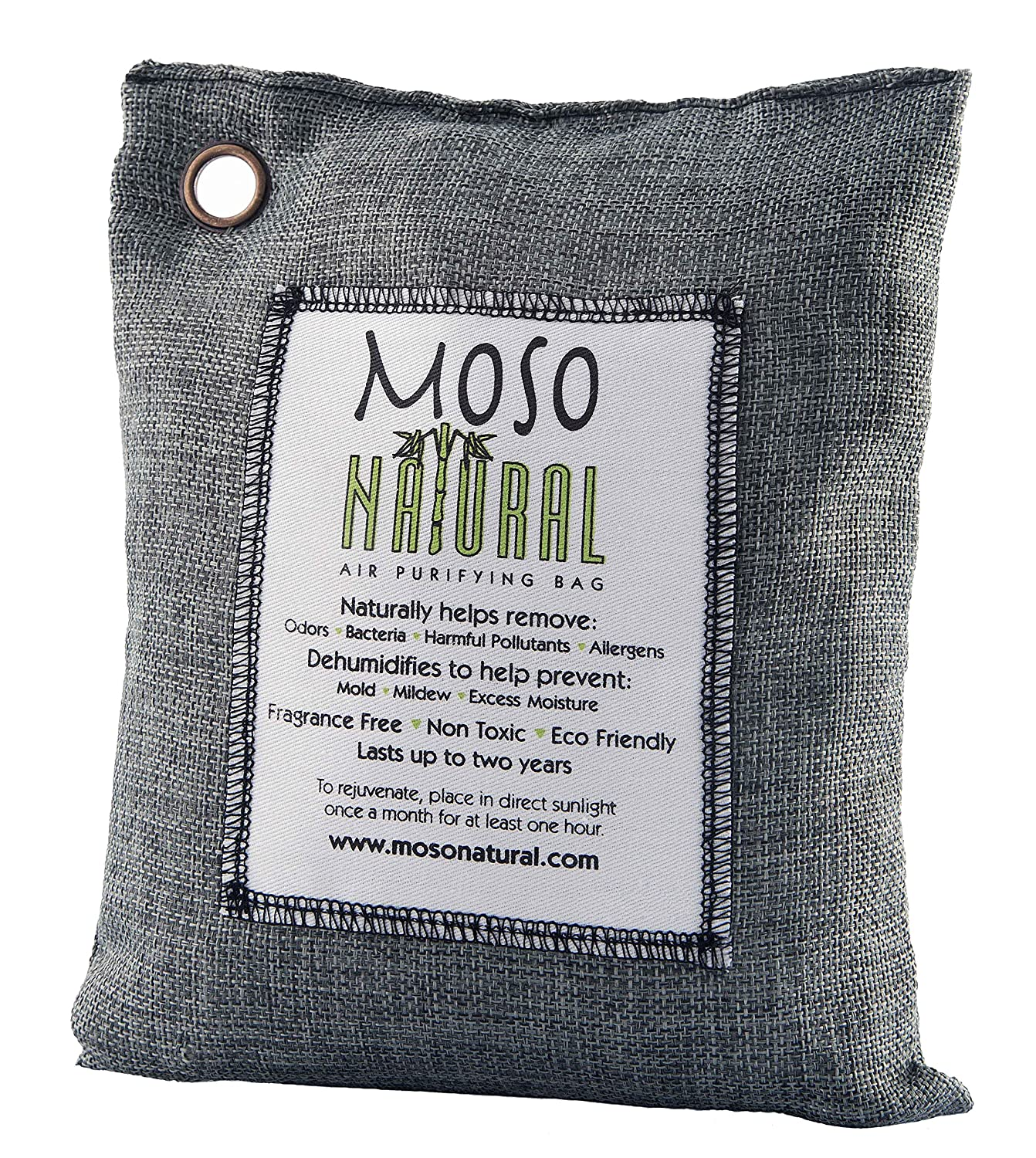Moso Natural 500 gm Air Purifying Bag Deodorizer. Odor Eliminator for Kitchens, Living Areas, Bedrooms and Basements. Absorbs and Eliminates Odors. Charcoal Color MB8720