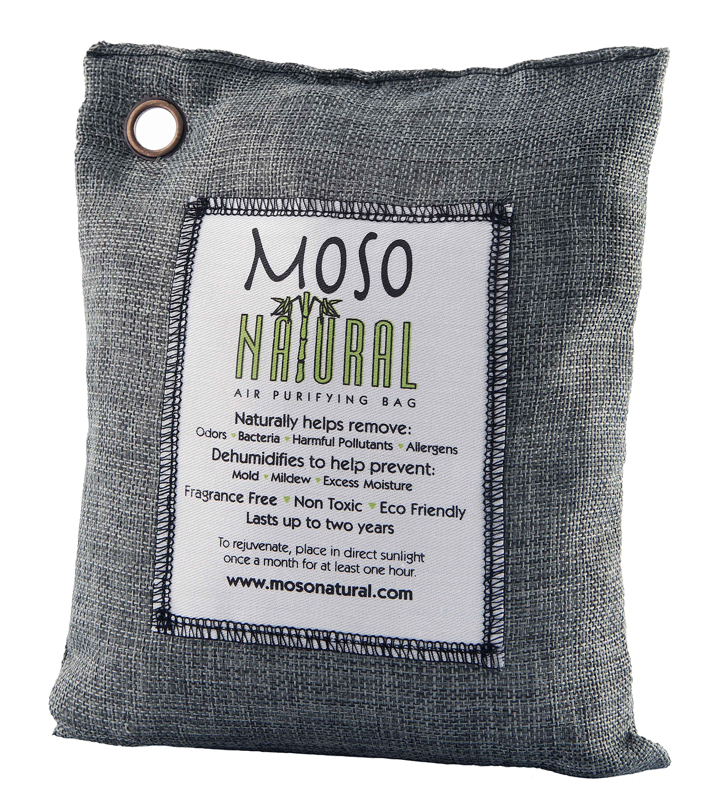 Moso Natural Air Purifying Bag 500-Grams. Charcoal Color. Natural Odor Eliminator. Fragrance Free, Chemical Free, Odor Absorber. Captures and Eliminates Odors.