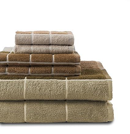 Revere Mills 6 Piezas Jaque Mate 100% algodón teñido Juego de Toallas Neutral