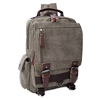Amazon.com: Canvas Sling Bag Backpack Vintage Outdoor School Bag ...