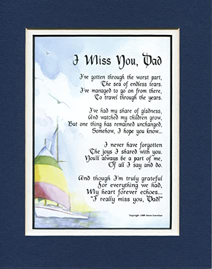 0ac101c4 Amazon.com: I Miss You, Dad, (For The Loss Of A Father) #99 Bereavement  Memorial Gift Poem.: Other Products: Posters & Prints