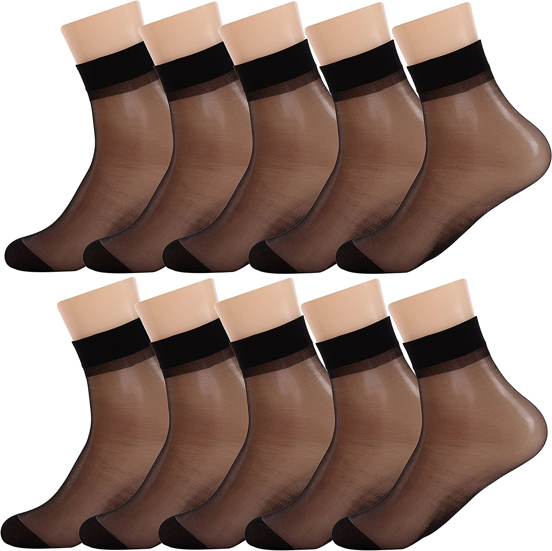 Women Sheer Socks 10 Pairs Ankle High Soft Crystal Silky Hosiery Office