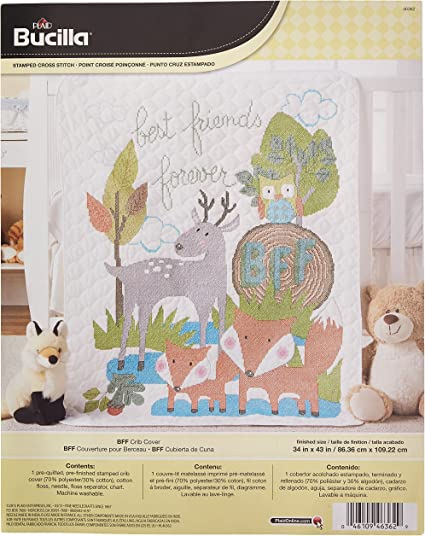 46186 Woodland Baby Bucilla Stamped Cross Stitch Crib Cover Kit 34 by 43-Inch