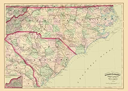 Amazon.com: Old State Map - North Carolina, South Carolina - Asher ...