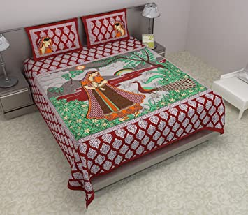 e677cbf3c69 Buy Maruti PRINTS Rajasthani Exclusive Design Traditional Scenary Maroon  Double Bedsheet With 2 Pillow Covers Online at Low Prices in India -  Amazon.in