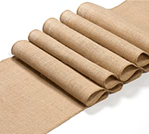 EleganceWay 12 x 108 inches long Burlap table runner Jute Hessian Rustic Wedding decoration – Dining table runner roll – Easter Thanksgiving day table decor