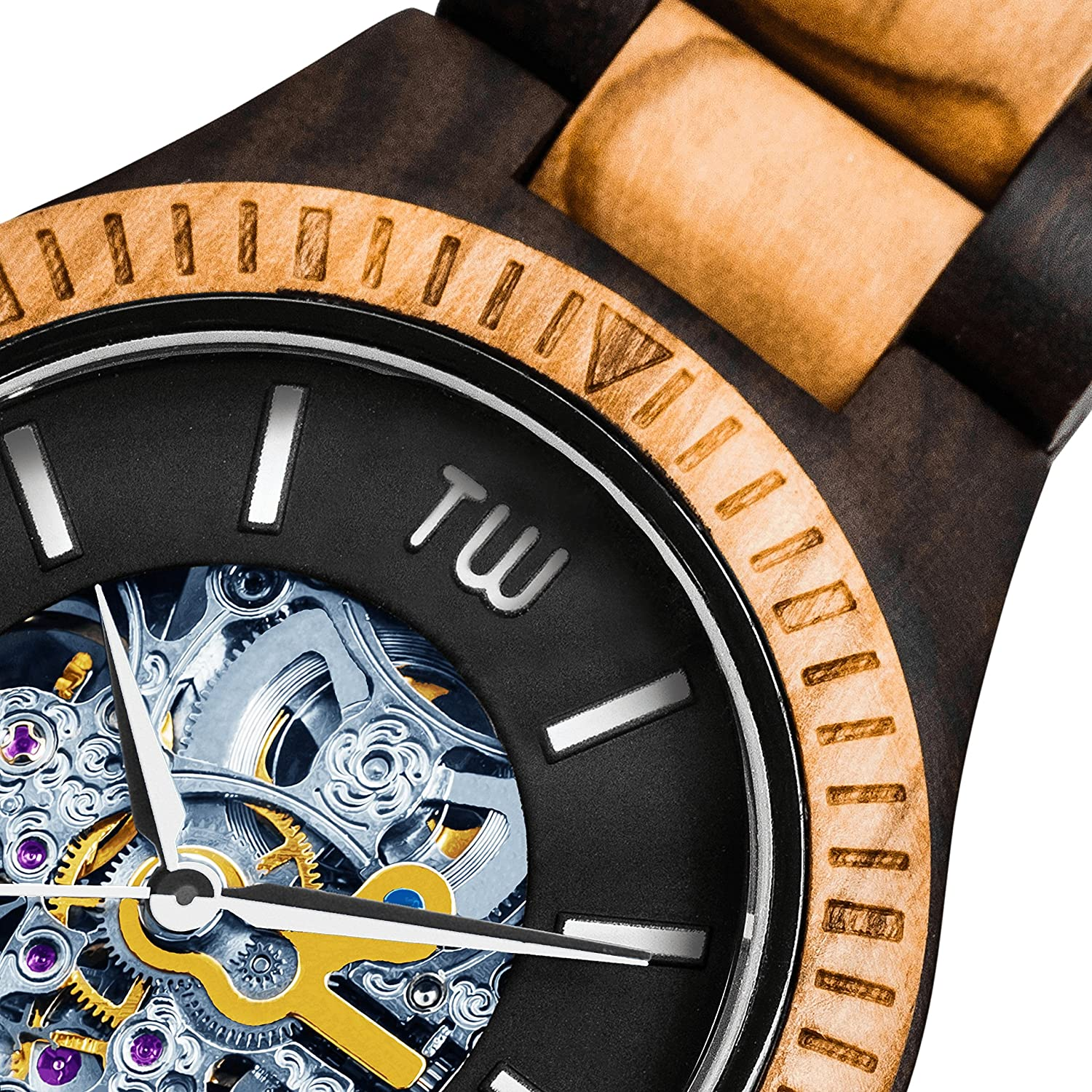 Amazon.com: TruWood Caliber Automatic Wooden Watch with Zebrawood And All Wood Band: Watches