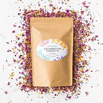 Premium Biodegradable Confetti by Pura Source : 100% Natural Rose,  Marigold, Lavender, Cornflower Petals & Buds : Free from Plastic, Bleach &