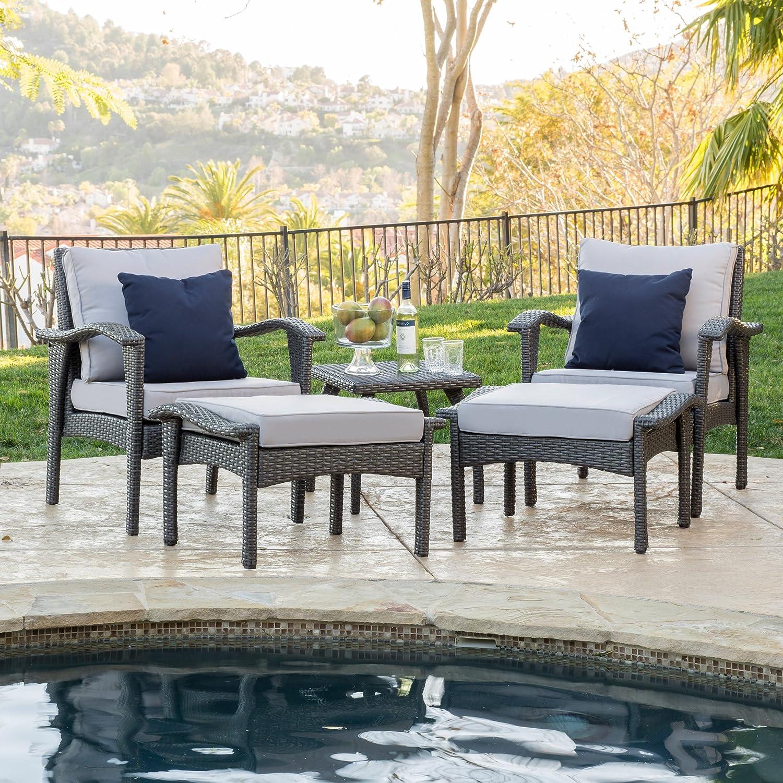 Perfect Amazon.com : Maui Outdoor 5 Piece Grey Wicker Seating Set With Cushions :  Patio, Lawn U0026 Garden