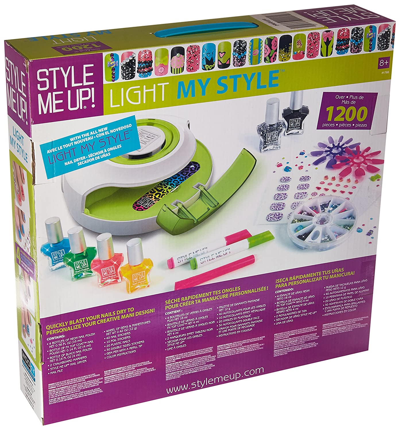 Amazon.com: Style Me Up - All in One Pack for Nail Art - Nail Polishes, Coats, Markers, Nail Dryer and Decorations - SMU-1768: Toys & Games