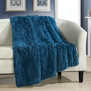 "Chic Home Elena Throw Blanket Cozy Super Soft Ultra Plush Decorative Shaggy Faux Fur with Micro Mink Backing50"" X 60"", 50 X 60, Teal"