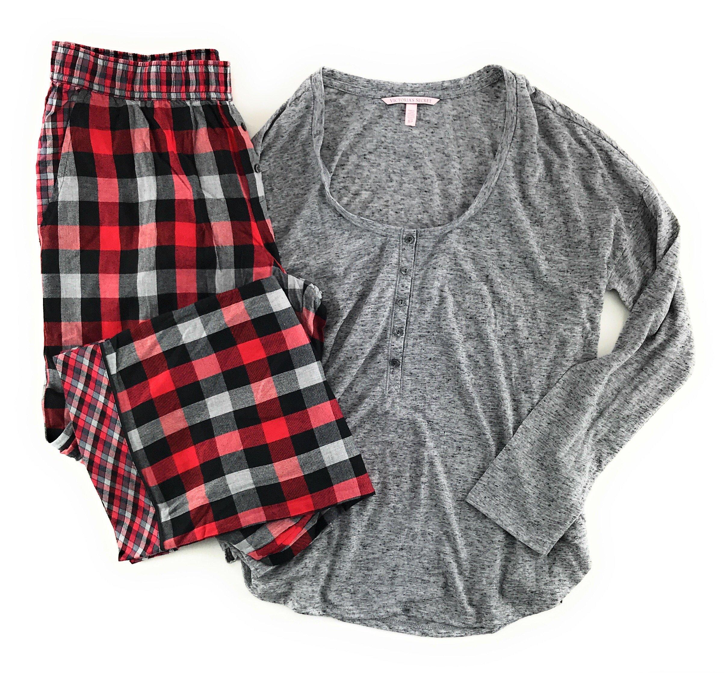 Victoria's Secret Dreamer Henley Pajama Set Light Gray/Red Black Gray Plaid Medium by Victoria's Secret (Image #2)