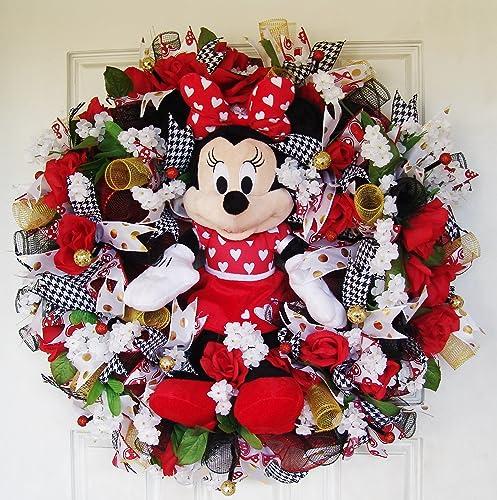 Amazon Com Plush Minnie Mouse Valentine S Day Deco Mesh Front Door