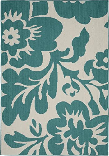 Mohawk Home Huxley Exploded Medallions Woven Rug, 8 x10 , Bay Blue