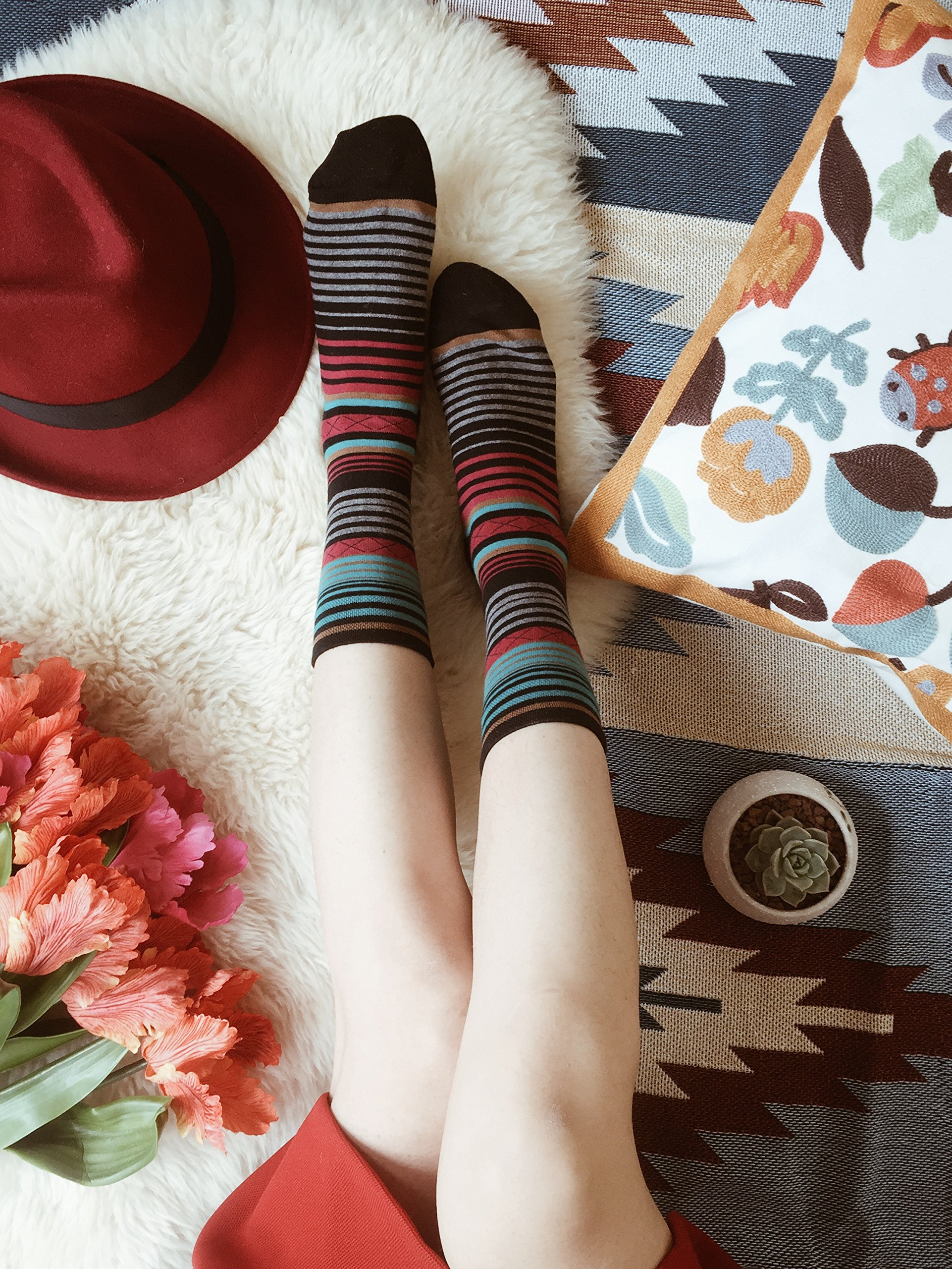 Tselected Women's Classic Dress Socks Colorful Warm Funny Casual Crew Vintage Style US Size 6-11 5 Pack by Tselected (Image #7)