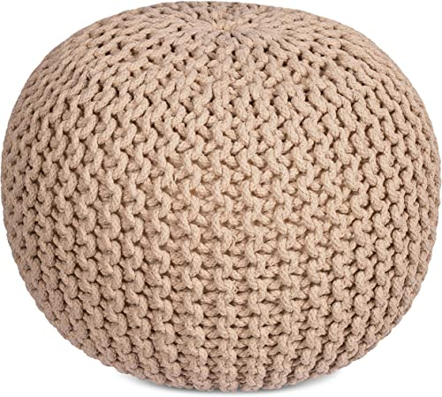BIRDROCK HOME Round Pouf Foot Stool Ottoman – Knit Bean Bag Floor Chair – Cotton Braided Cord – Great for The Living Room, Bedroom and Kids Room – Small Furniture Natural