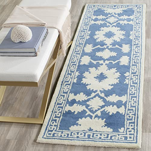 Safavieh Bella Collection BEL132A Handmade Blue and Ivory Premium Wool Area Rug 2 6 x 4