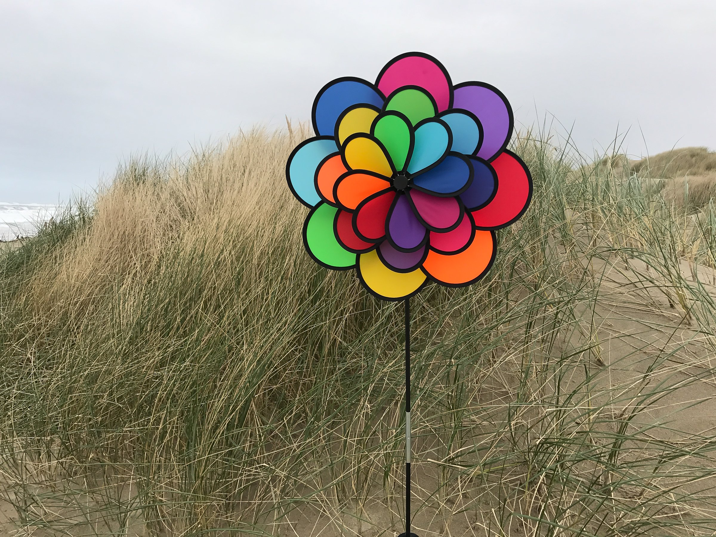 In the Breeze Triple Wheel Flower - Ground Stake Included - Colorful Wind Spinner for your Yard or Garden