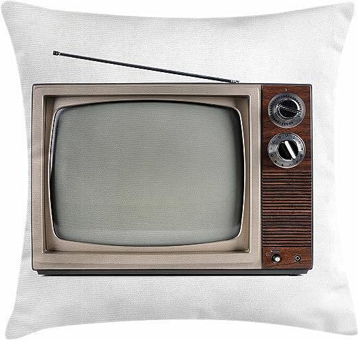 Lunarable 1950s Funda de cojín con Antena de televisión Antigua, Pantalla de película histórica, Funda de Almohada Decorativa Cuadrada, Color Blanco: Amazon.es: Juguetes y juegos