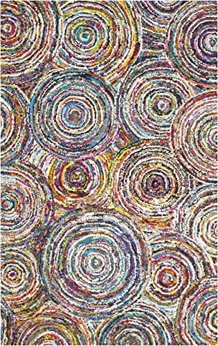 Safavieh Nantucket Collection NAN514A Handmade Abstract Circles Multicolored Cotton Area Rug 9 x 12