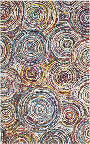 Safavieh Nantucket Collection NAN514A Handmade Abstract Circles Multicolored Cotton Area Rug 6 x 9