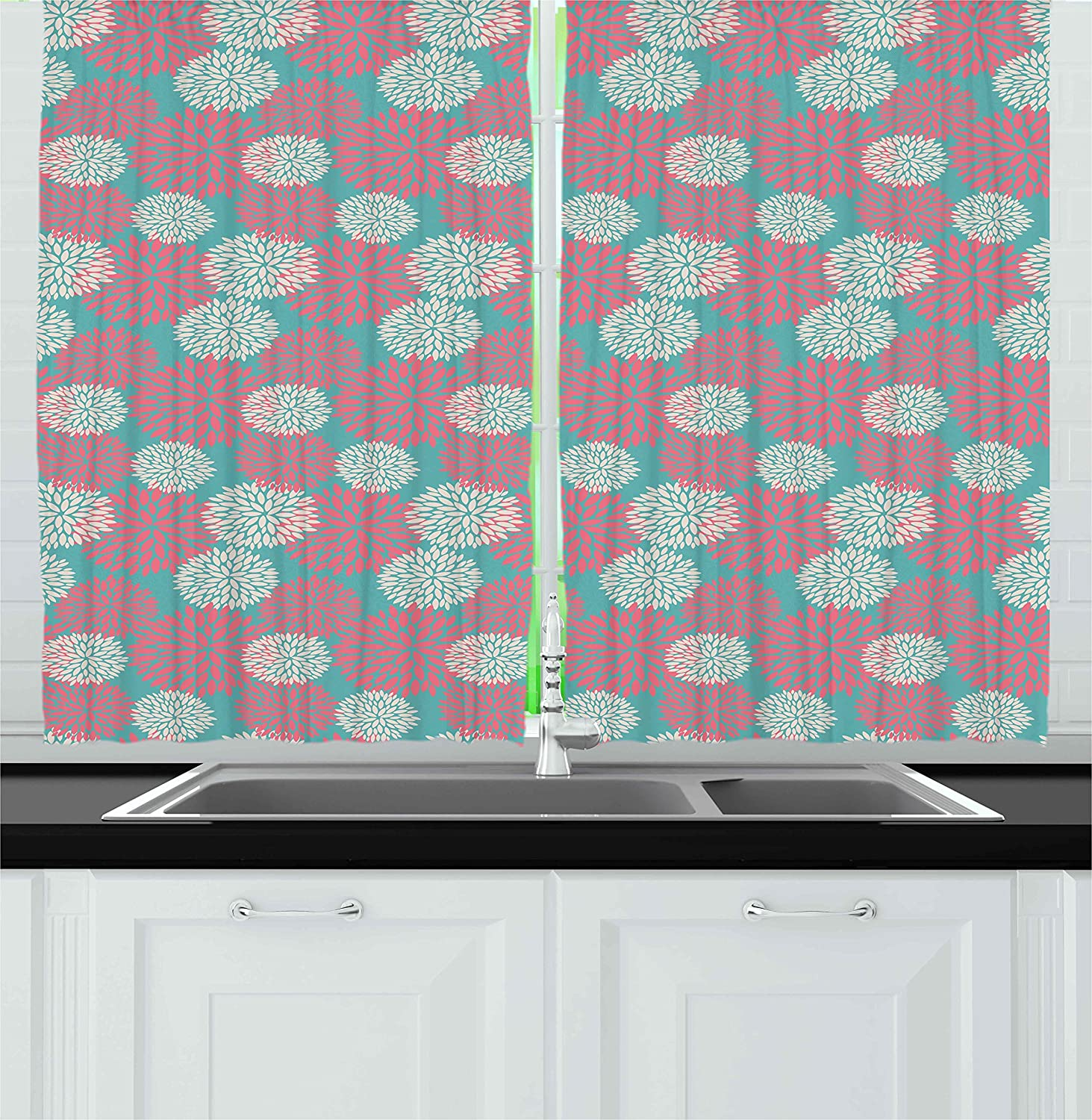 Amazon.com: Rustic Home Kitchen Curtains by Ambesonne, Efflorescing ...